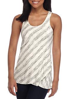 love, Fire Asymmetrical Striped Knit Tank