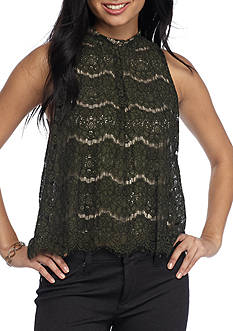 love, Fire High Neck Lace Tank Blouse