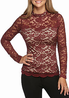 love, Fire Long Sleeve Mock Neck Illusion Lace Top