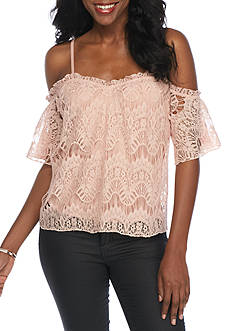 love, Fire Off Shoulder Lace Top