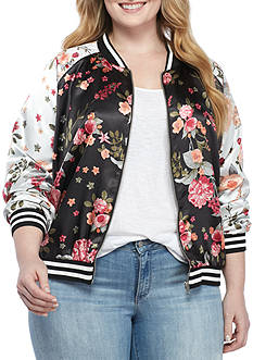 love, Fire Floral Print Bomber Jacket