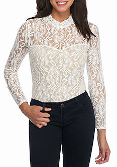love, Fire Long Sleeve Lace Body Suit