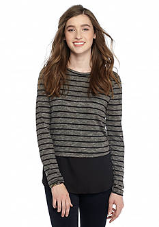 KELLY RENE Striped Knit Top With Woven Trim