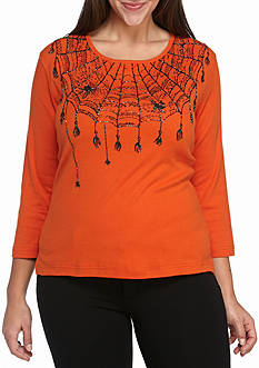 Jane Ashley Plus Size Halloween Spiderweb Shirt