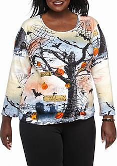 Jane Ashley Plus Size Halloween Bats Knit Top