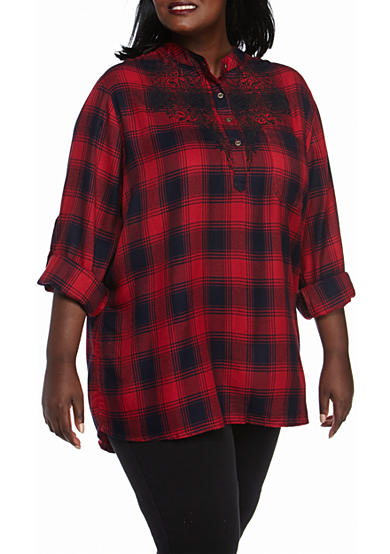 Jane Ashley Plus Size Plaid Lace Woven Top