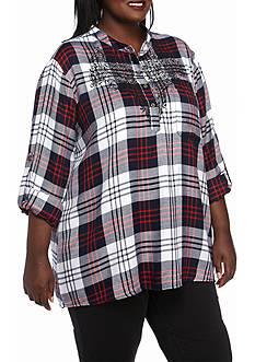 Jane Ashley Plus Size Plaid Lace Woven Top