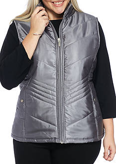 Jane Ashley Plus Size Drop Chevron Quilted Vest