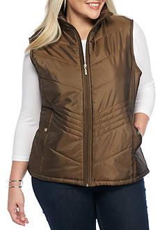 Jane Ashley Plus Size Drop Chevron Quilted Vest