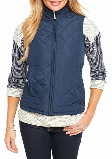 Jane Ashley Petite Quilted Vest