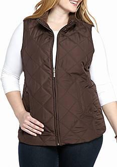 Jane Ashley Plus Size Diamond Scoop Pocket Vest
