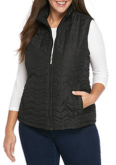 Jane Ashley Plus Size Wavy Quilted Vest