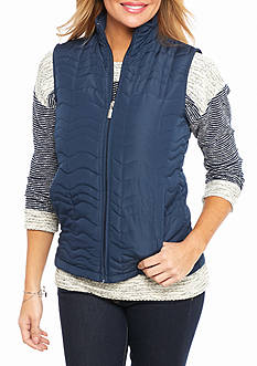 Jane Ashley Petite Wavy Quilted Vest