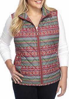 Jane Ashley Plus Size Aztec Vest