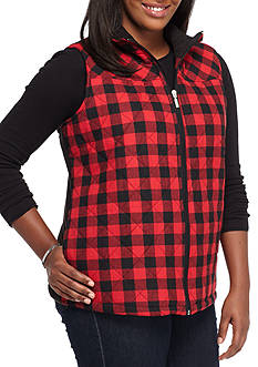 Jane Ashley Plus Size Buffalo Plaid Vest