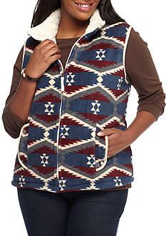 Jane Ashley Plus Size Faux Sherpa Aztec Vest