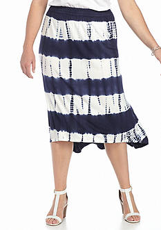 Jane Ashley Plus Size Tie Dye Stripe Skirt