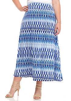 Jane Ashley Plus Size Knit Ankle Skirt Blues