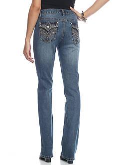 Earl Jean Lace Floral Patch Pocket Jeans