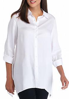 Sharagano Button Front Sharkbite Shirt