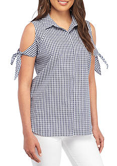 Sharagano Gingham Tie Shirt