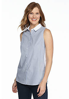 Sharagano Striped Button Down Tank