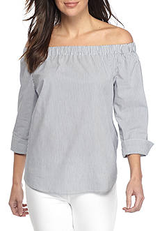 Sharagano Striped Off The Shoulder Top