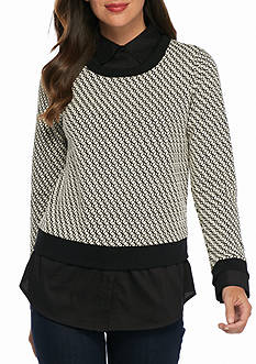 Sharagano Textured Knit 2-Fer Top