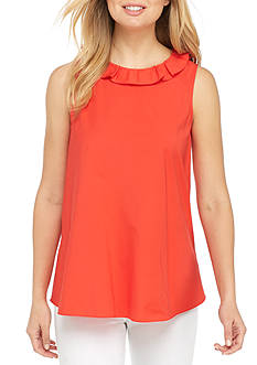 Sharagano Ruffle Neck Tank