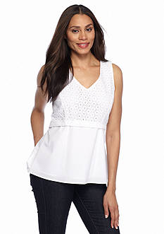 Sharagano Eyelet High Low Blouse