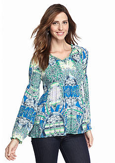 Sharagano Tropical Feather Print Blouse