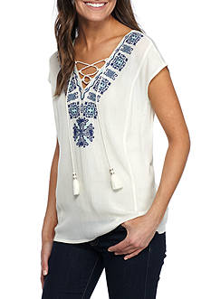 Vintage America Blues Rayyah Embroidered Neck Blouse