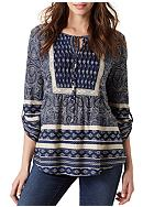 Vintage America Blues Skipping Stone Printed Top