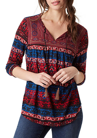 Vintage America Blues Lake Shore Embellished Yoke Top