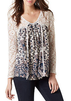 Vintage America Blues Ripple Print Lace Top