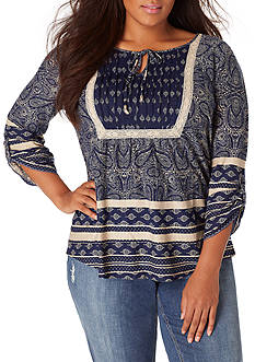 Vintage America Blues Plus Size Skipping Stones Current Top