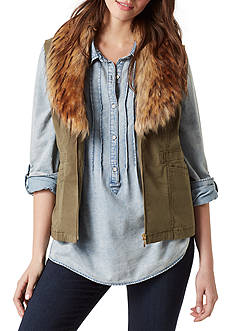 Vintage America Blues Emerald Fur Trim Vest