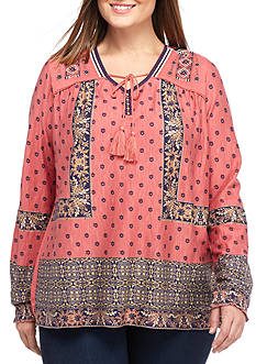Vintage America Blues Plus Size Piper Print Knot Top