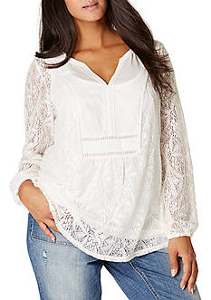 Vintage America Blues Plus Size Lace Top