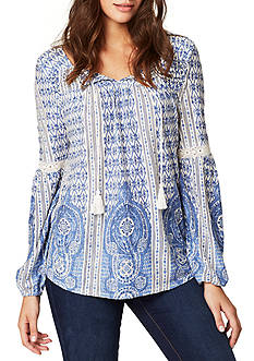 Vintage America Blues Kaylee Printed Border Peasant Top