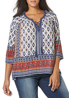 Vintage America Blues Plus Size Audrey Printed Embroidered Poet Top