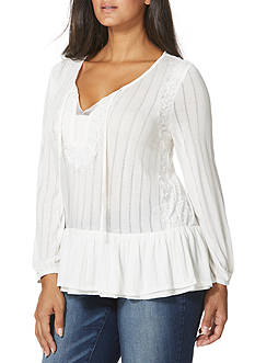 Vintage America Blues Plus Size Natalie Tiered Ruffle Top