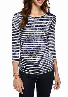 Ruby Rd Rythm and Blue Embellished Tie Die Stripe Knit Top