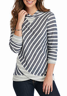 Ruby Rd Rhythm And Blues Stripe French Terry Top
