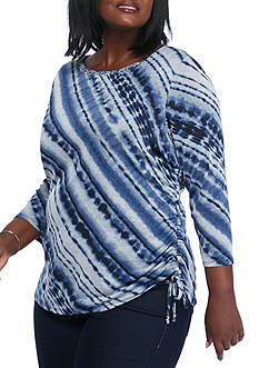 Ruby Rd Plus Size Rhythm and Blues Diagonal Tie Dye Side Ruched Knit Top