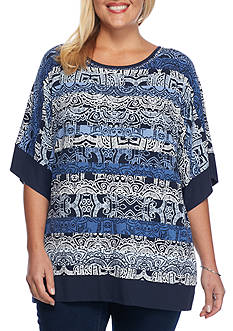 Ruby Rd Plus Size Tiki Dot Stripe Kimono Knit Top