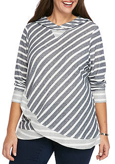 Ruby Rd Plus Stripe Hooded Pullover