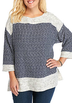 Ruby Rd Plus Size Modern Knits Text Marled Metal Stripe Tunic