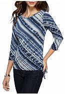 Ruby Rd Petite Rhythm and Blue Tie-Dye Ruched
