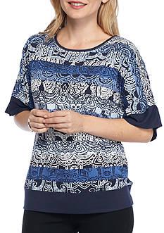 Ruby Rd Petite Size Tiki Dot Kimono Knit Top